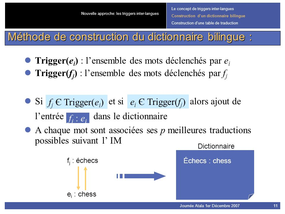 Méthode de construction du dictionnaire bilingue :