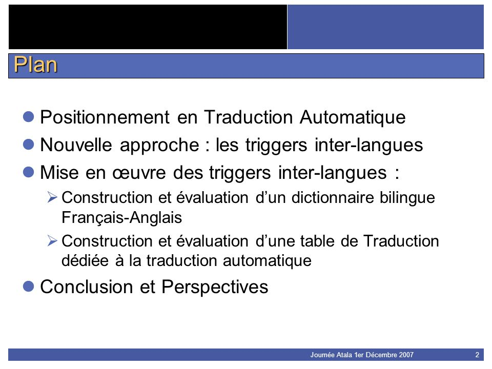Plan Positionnement en Traduction Automatique