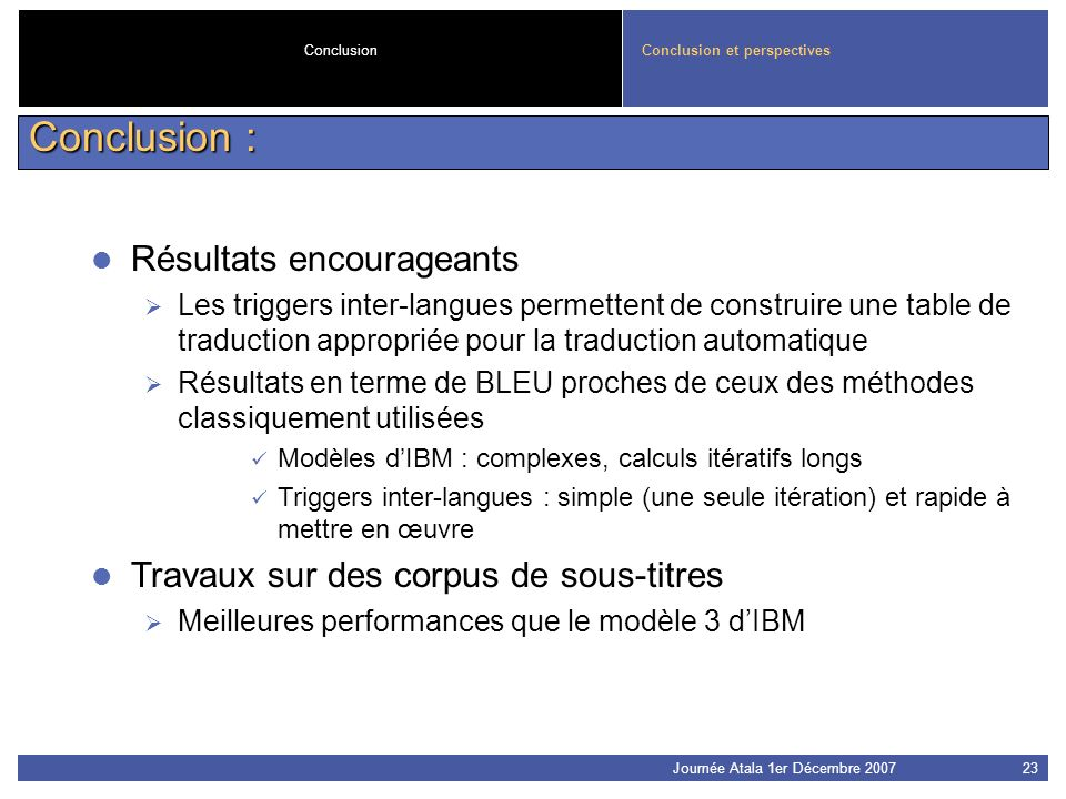 Conclusion : Résultats encourageants