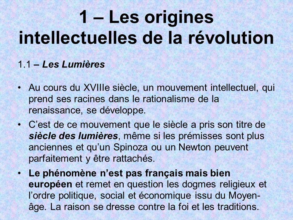 1 – Les origines intellectuelles de la révolution