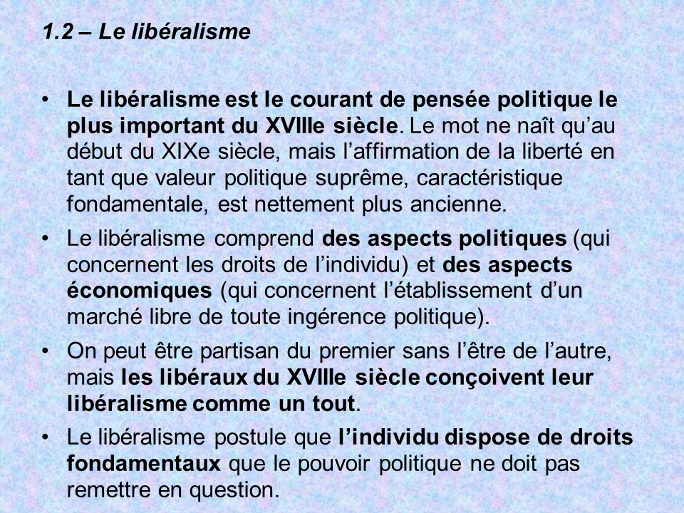1.2 – Le libéralisme