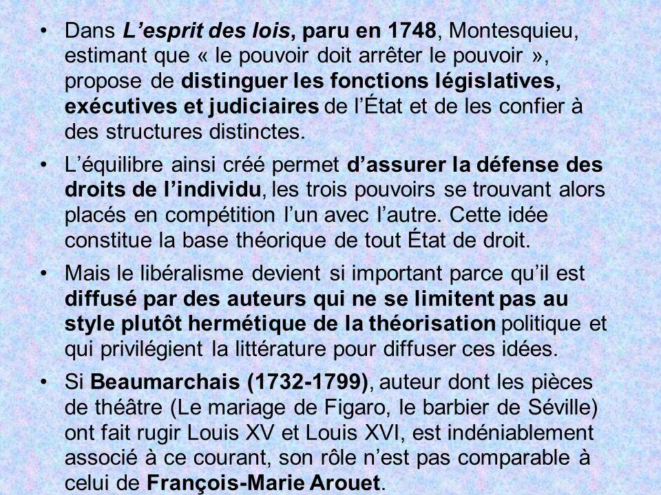 Dans L'esprit des lois, paru en 1748, Montesquieu, estimant que « le pouvoir doit arrêter le pouvoir », propose de distinguer les fonctions législatives, exécutives et judiciaires de l'État et de les confier à des structures distinctes.