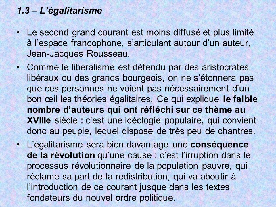 1.3 – L'égalitarisme