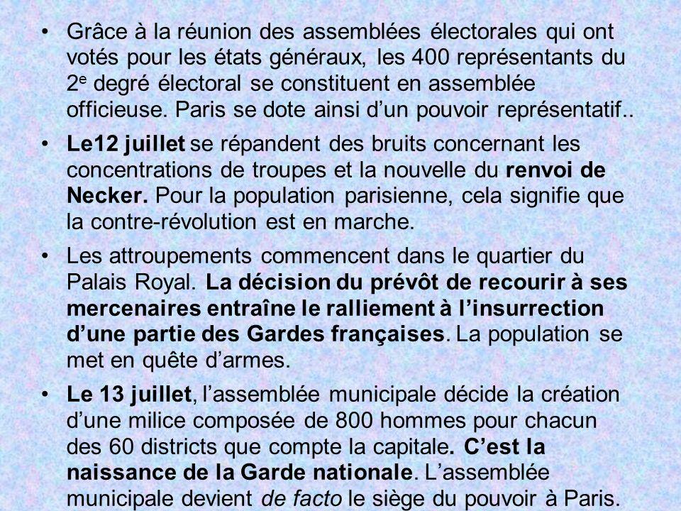 Grâce à la réunion des assemblées électorales qui ont votés pour les états généraux, les 400 représentants du 2e degré électoral se constituent en assemblée officieuse. Paris se dote ainsi d'un pouvoir représentatif..