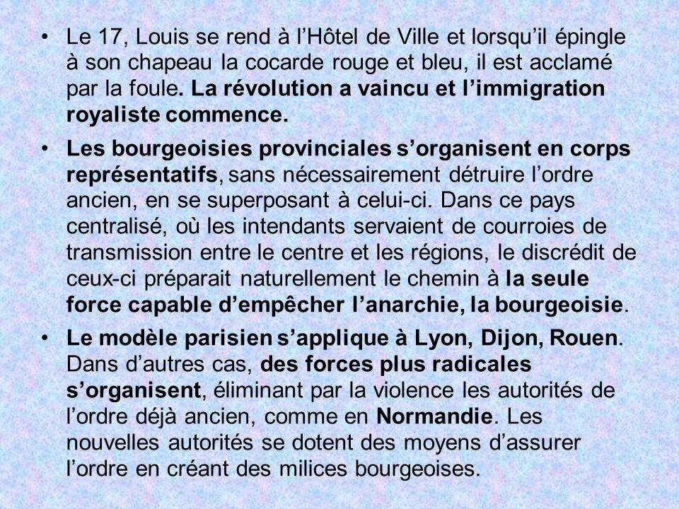 Le 17, Louis se rend à l'Hôtel de Ville et lorsqu'il épingle à son chapeau la cocarde rouge et bleu, il est acclamé par la foule. La révolution a vaincu et l'immigration royaliste commence.