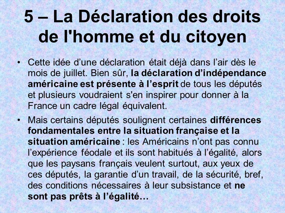 5 – La Déclaration des droits de l homme et du citoyen