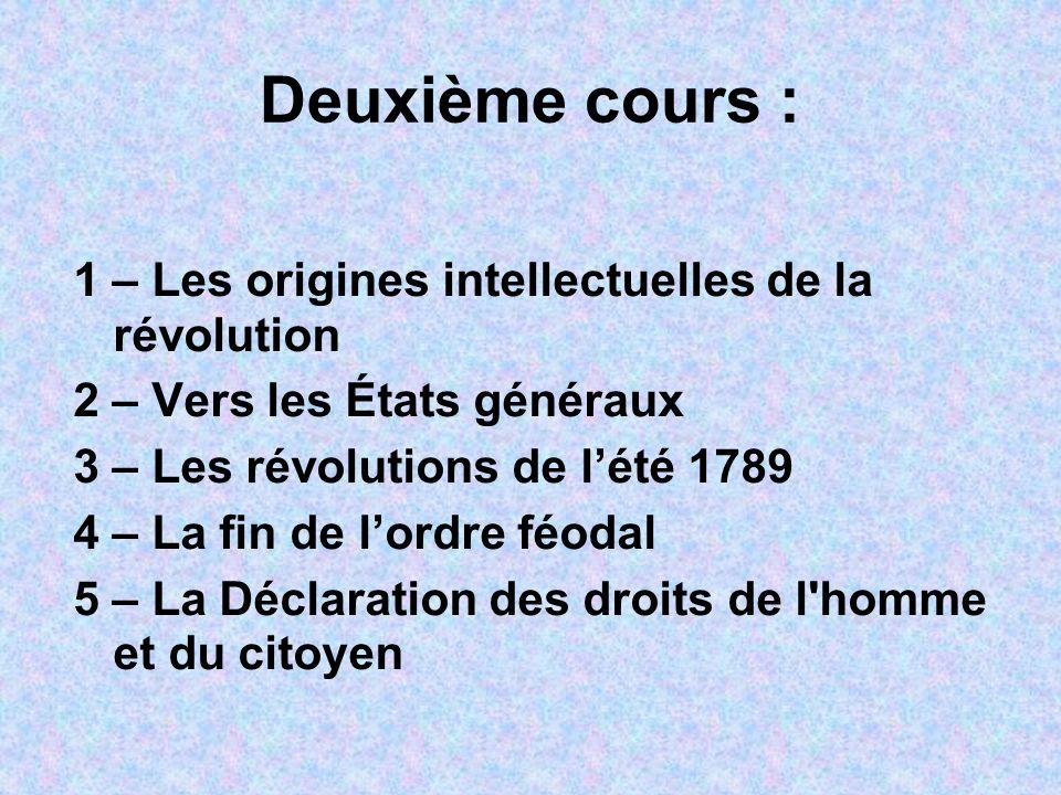 Deuxième cours : 1 – Les origines intellectuelles de la révolution