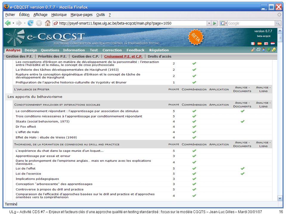 ULg – Activité CDS #7 – Enjeux et facteurs clés d'une approche qualité en testing standardisé : focus sur le modèle CGQTS – Jean-Luc Gilles – Mardi 30/01/07