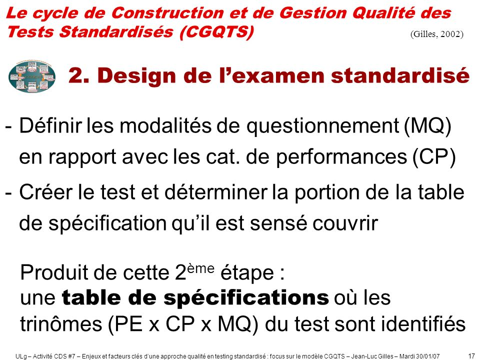 2. Design de l'examen standardisé