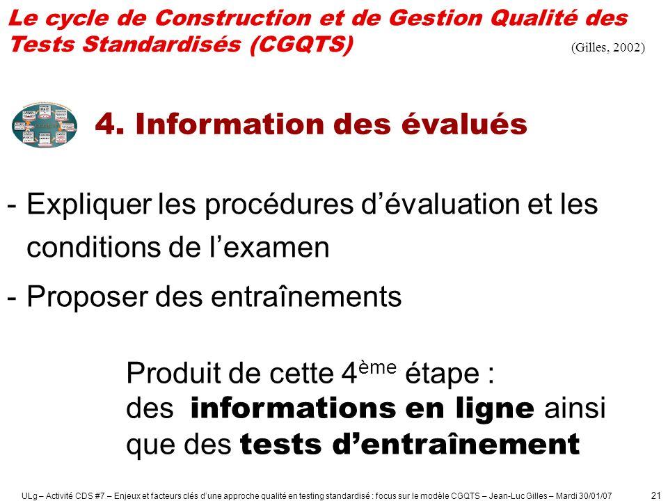 4. Information des évalués