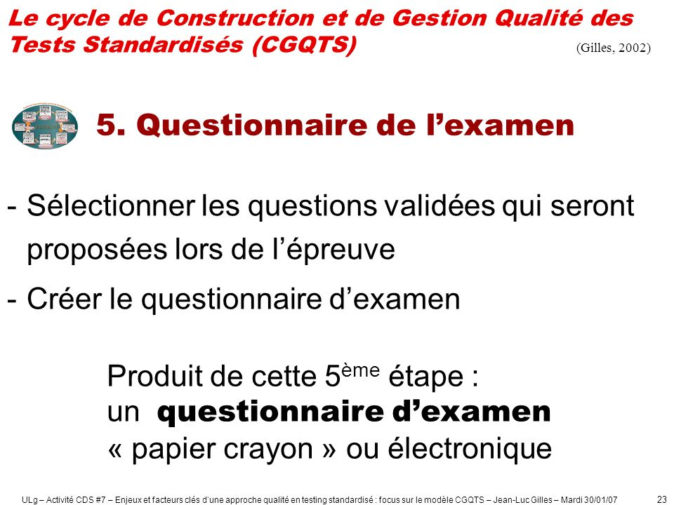 5. Questionnaire de l'examen