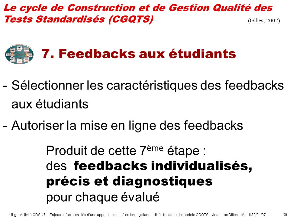7. Feedbacks aux étudiants