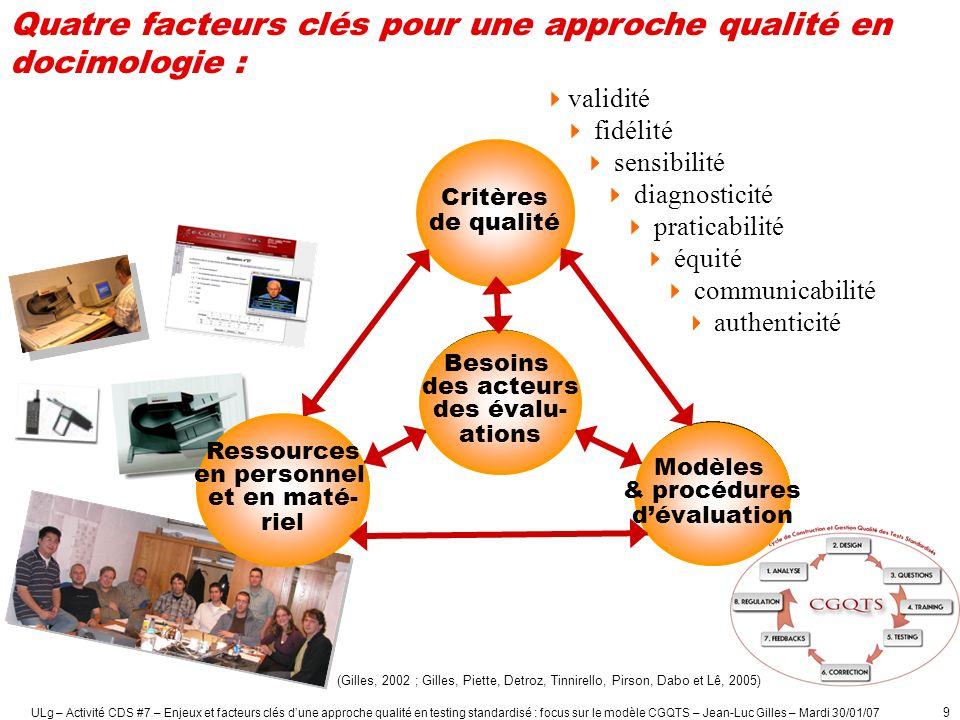Quatre facteurs clés pour une approche qualité en docimologie :