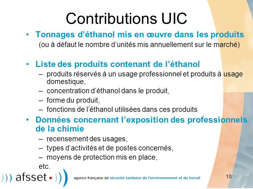 Contributions UIC Tonnages d'éthanol mis en œuvre dans les produits