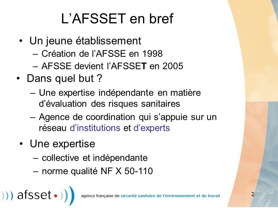 L'AFSSET en bref Un jeune établissement Dans quel but Une expertise