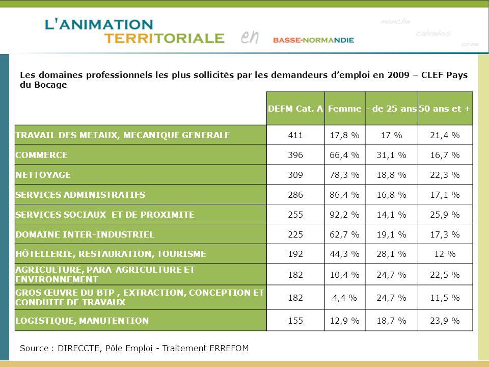 Les domaines professionnels les plus sollicités par les demandeurs d'emploi en 2009 – CLEF Pays du Bocage