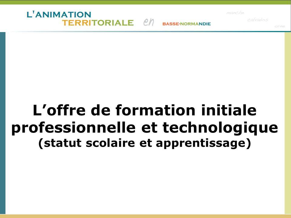 L'offre de formation initiale professionnelle et technologique (statut scolaire et apprentissage)