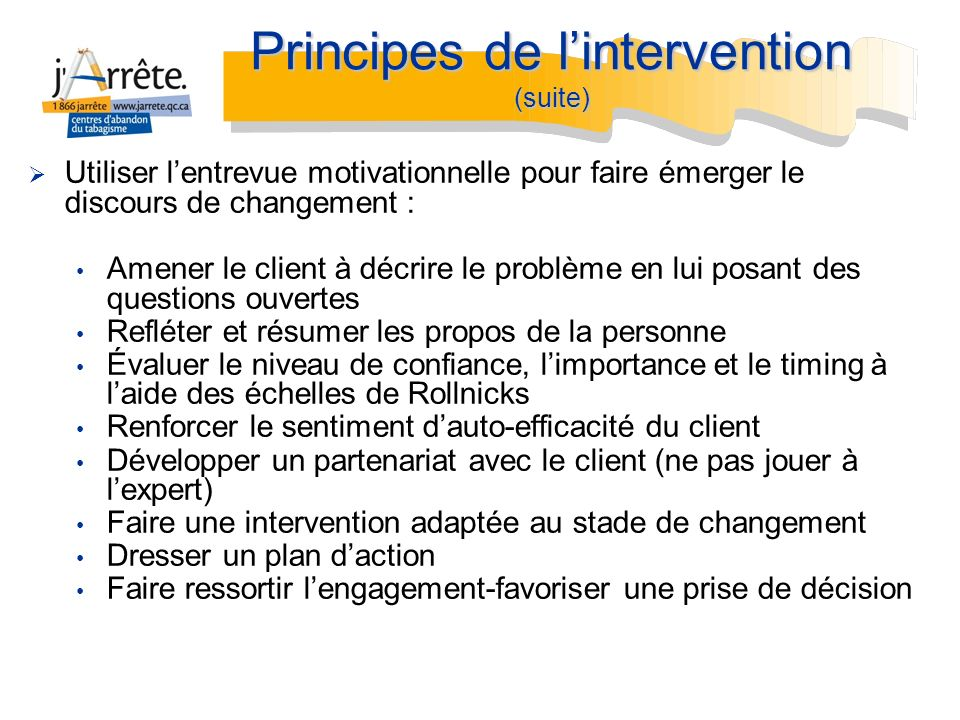 Principes de l'intervention (suite)