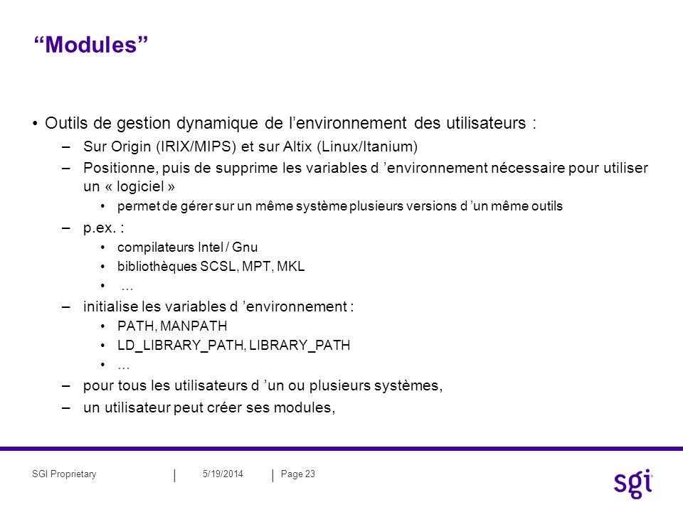 Modules Outils de gestion dynamique de l'environnement des utilisateurs : Sur Origin (IRIX/MIPS) et sur Altix (Linux/Itanium)