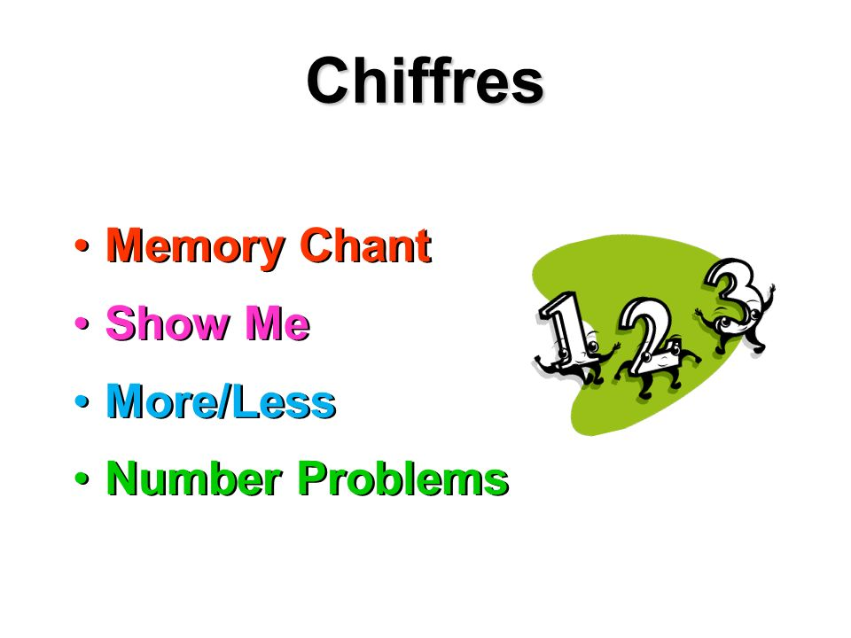Chiffres Memory Chant Show Me More/Less Number Problems