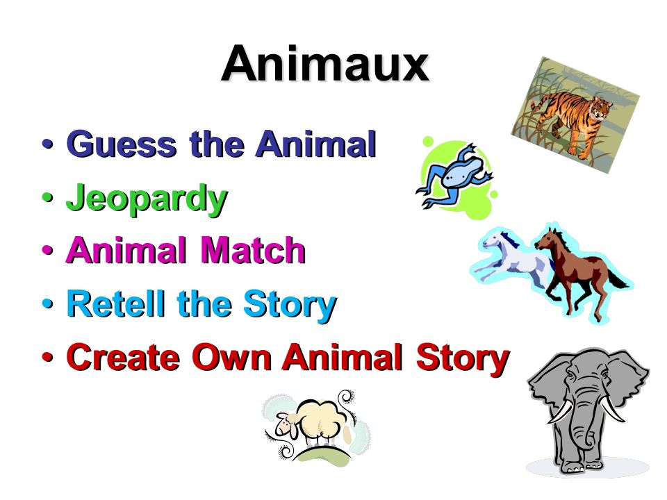 Animaux Guess the Animal Jeopardy Animal Match Retell the Story