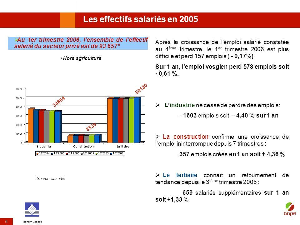 Les effectifs salariés en 2005