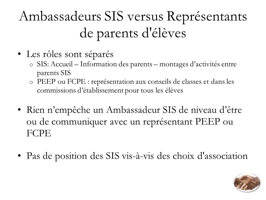 Ambassadeurs SIS versus Représentants de parents d élèves