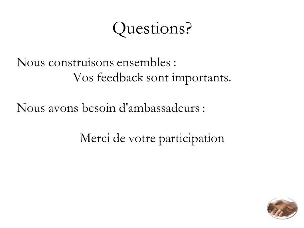 Questions Nous construisons ensembles : Vos feedback sont importants.
