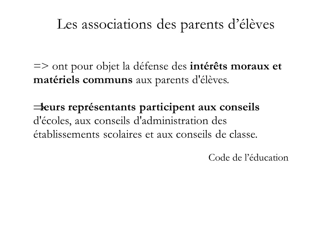 Les associations des parents d'élèves