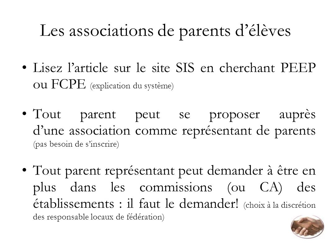 Les associations de parents d'élèves