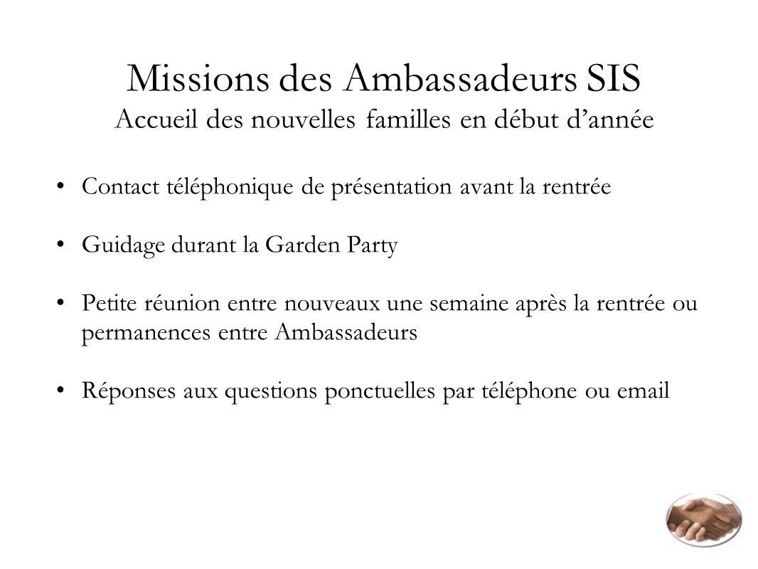 Missions des Ambassadeurs SIS Accueil des nouvelles familles en début d'année