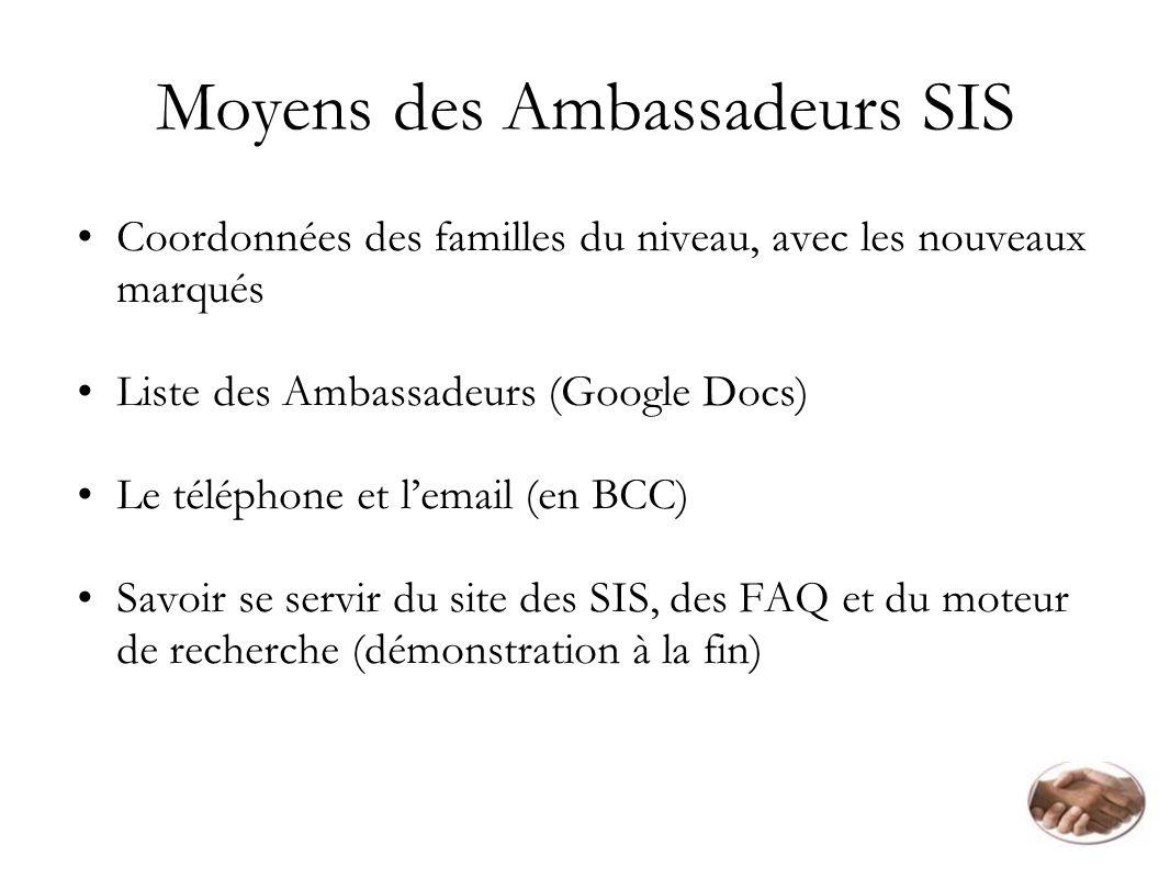 Moyens des Ambassadeurs SIS