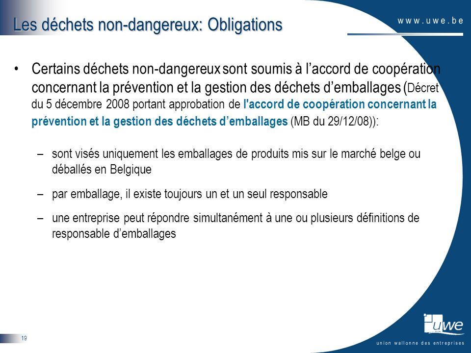 Les déchets non-dangereux: Obligations