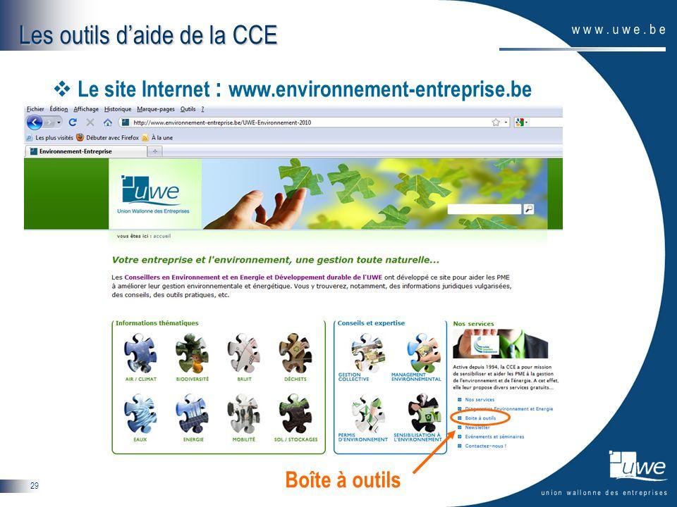 Les outils d'aide de la CCE