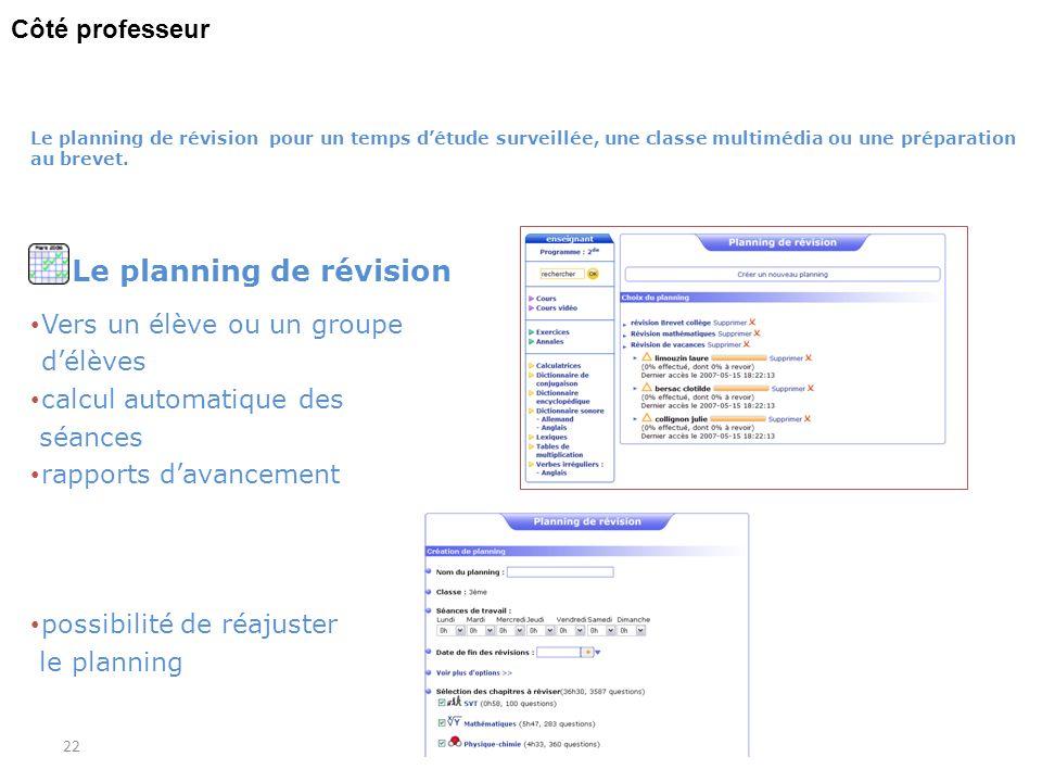 Le planning de révision