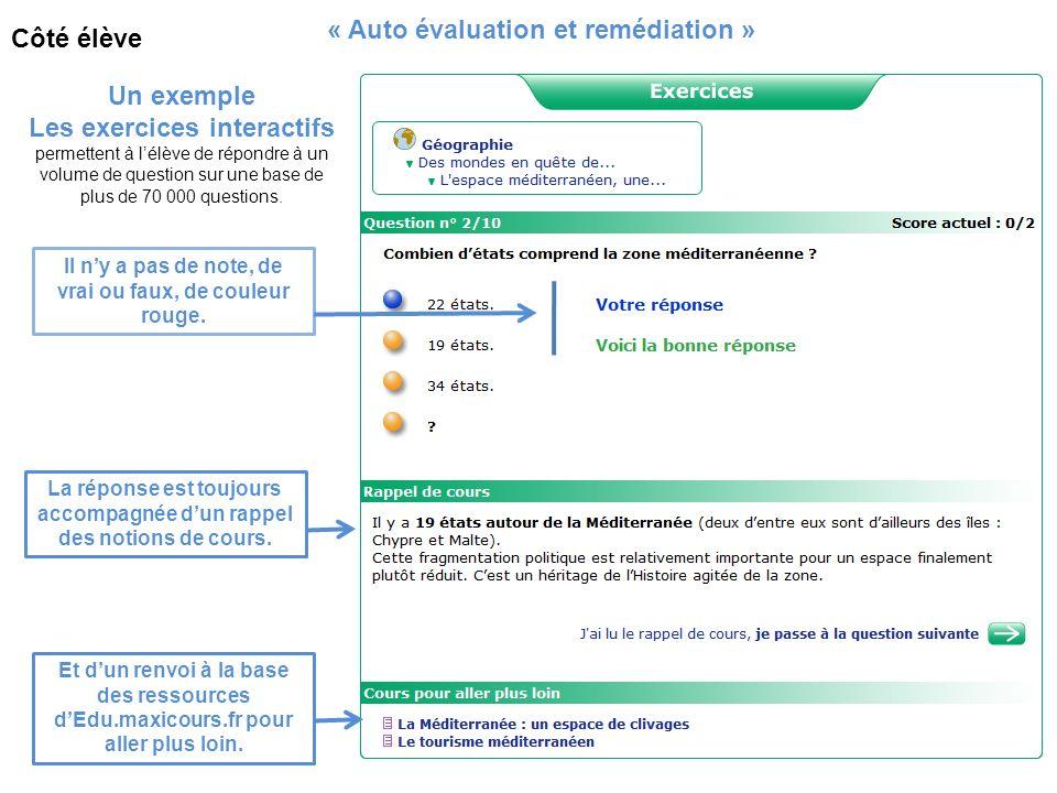« Auto évaluation et remédiation » Côté élève