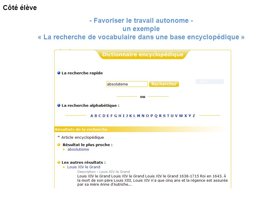 - Favoriser le travail autonome - un exemple