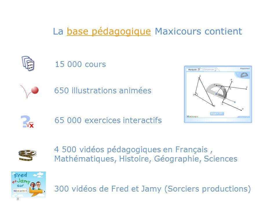 La base pédagogique Maxicours contient