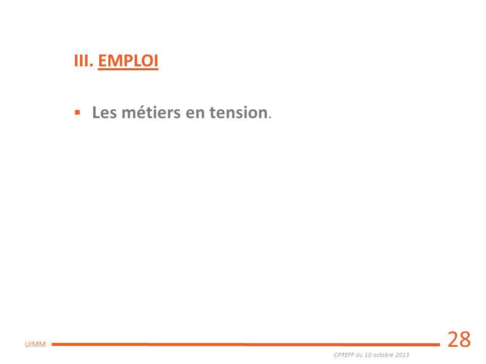 III. EMPLOI Les métiers en tension. 28