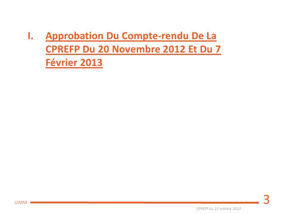 Approbation Du Compte-rendu De La CPREFP Du 20 Novembre 2012 Et Du 7 Février 2013