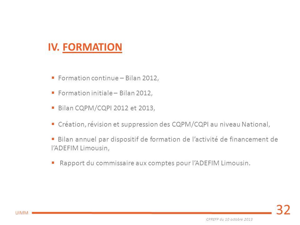 32 IV. FORMATION Formation continue – Bilan 2012,