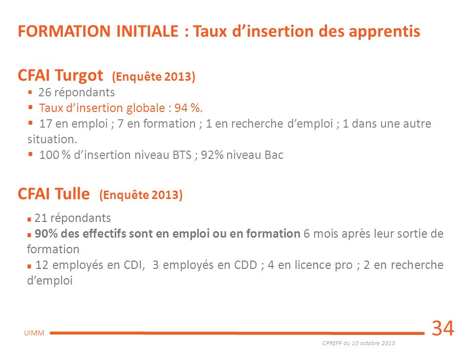34 FORMATION INITIALE : Taux d'insertion des apprentis