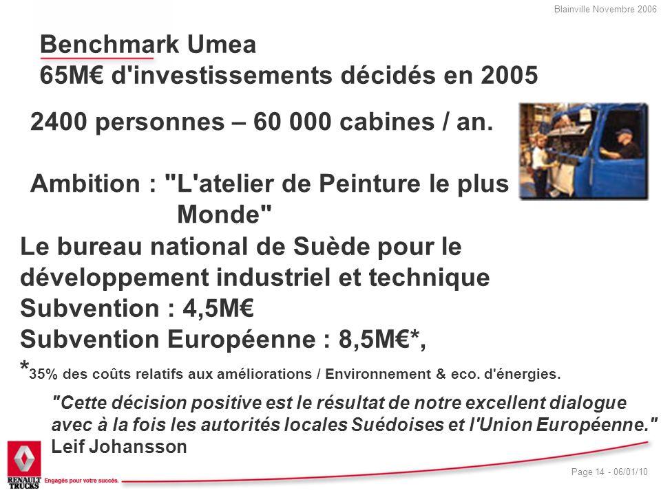 Benchmark Umea 65M€ d investissements décidés en 2005