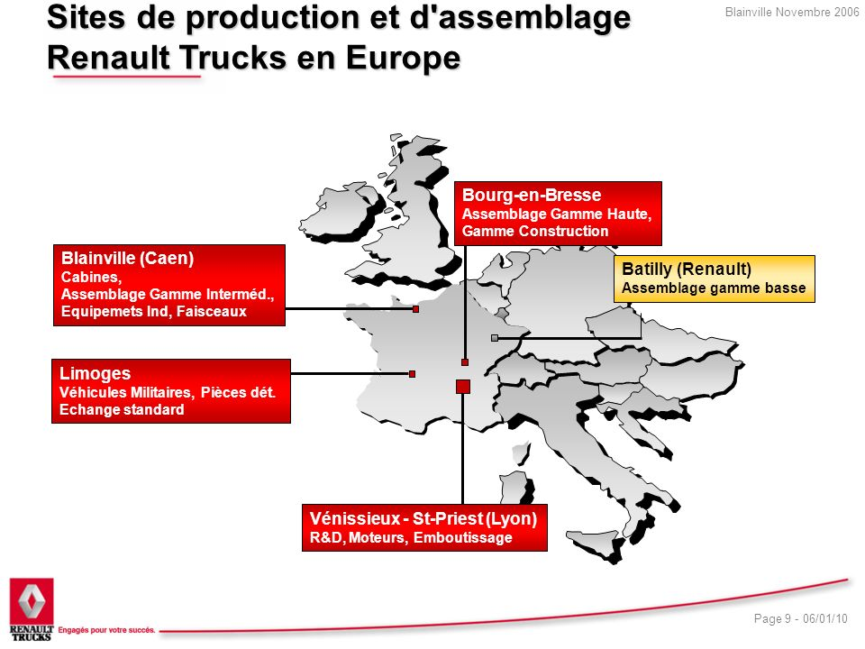 Sites de production et d assemblage Renault Trucks en Europe