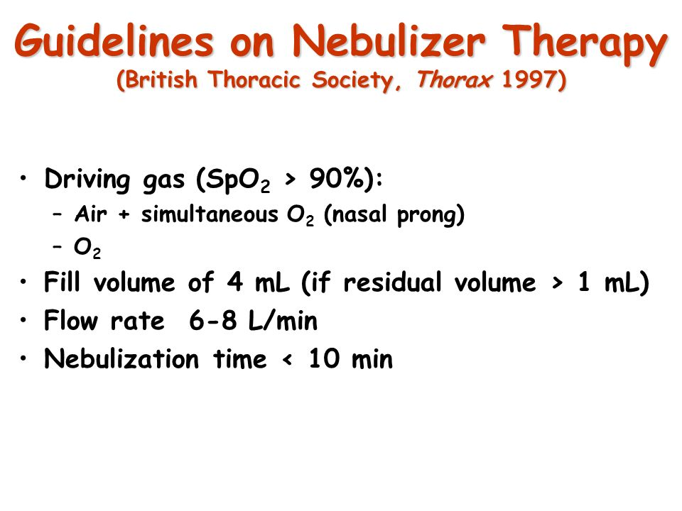 Guidelines on Nebulizer Therapy (British Thoracic Society, Thorax 1997)