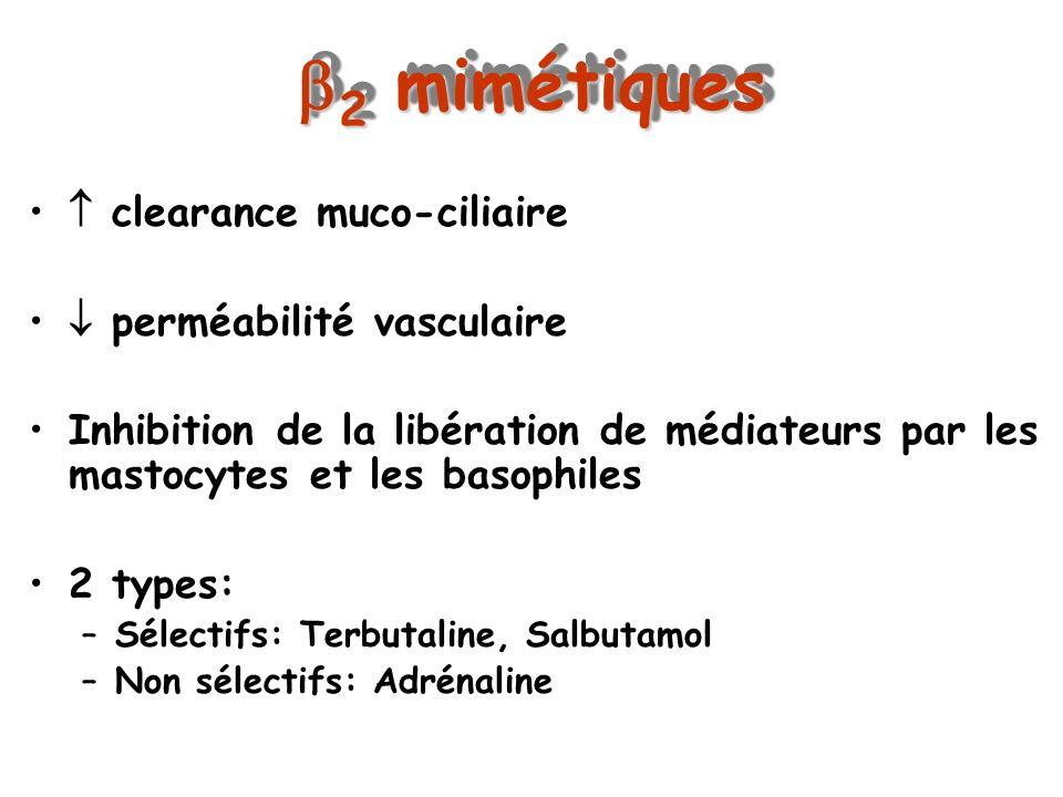 2 mimétiques  clearance muco-ciliaire  perméabilité vasculaire