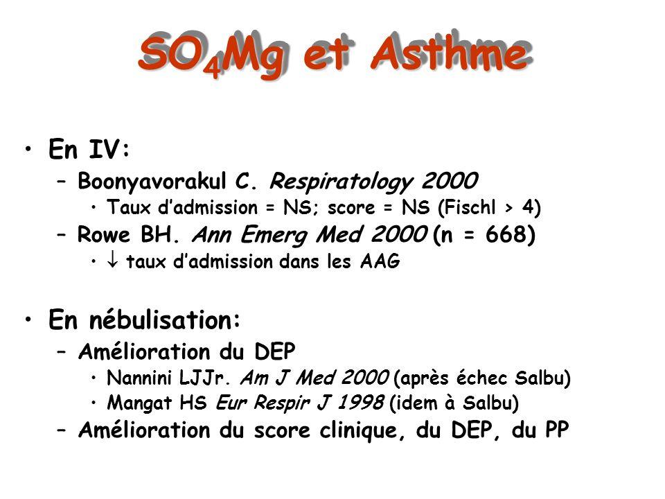 SO4Mg et Asthme En IV: En nébulisation:
