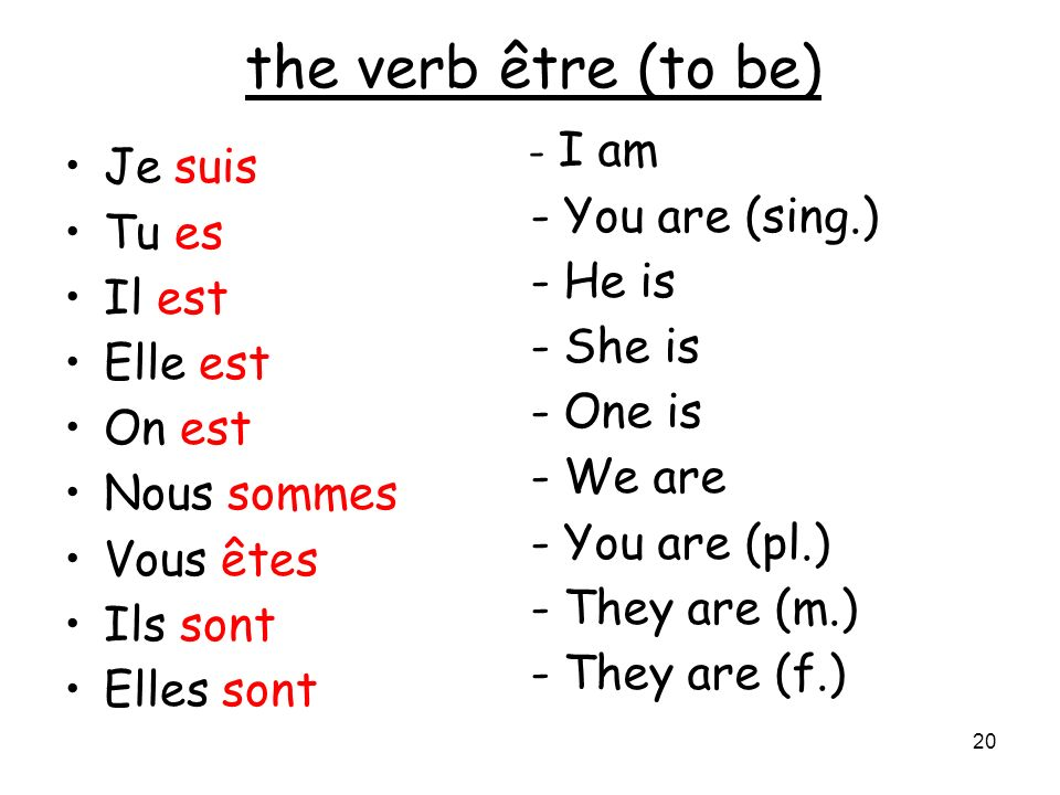 the verb être (to be) Je suis - You are (sing.) Tu es - He is Il est