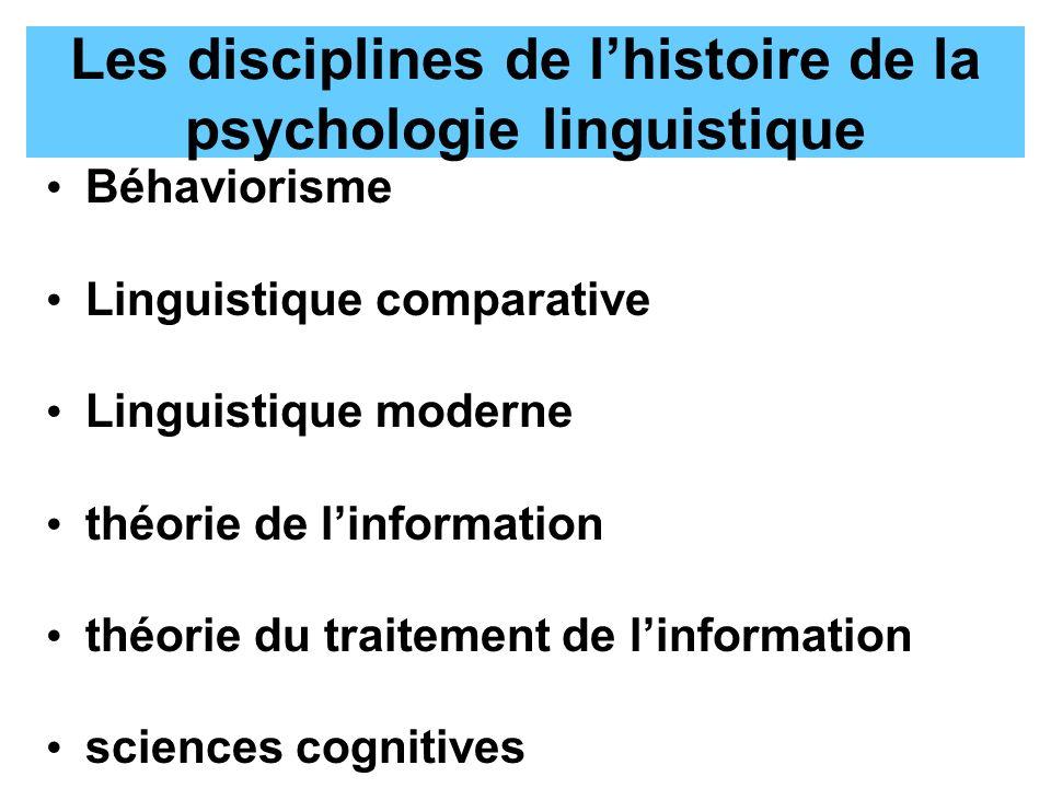 Les disciplines de l'histoire de la psychologie linguistique