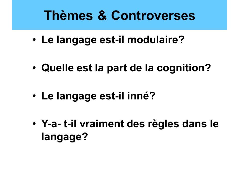 Thèmes & Controverses Le langage est-il modulaire